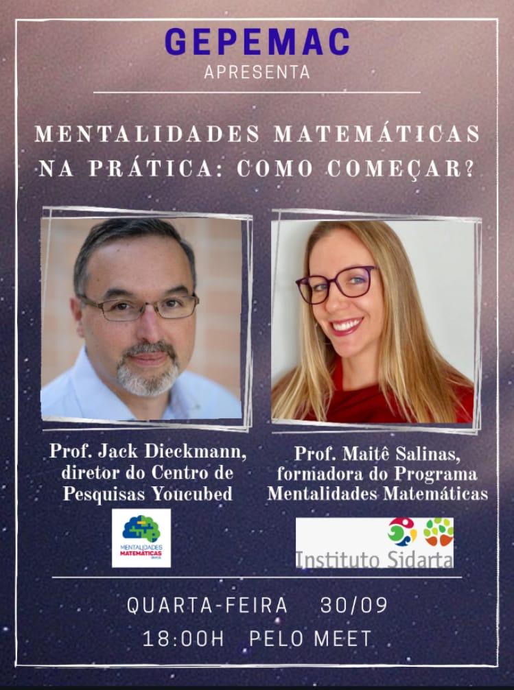 Webinar debate abordagem Mentalidades Matemáticas com pesquisadores e professores