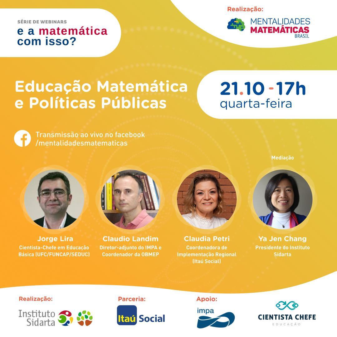 """Políticas públicas para educação são o tema do último webinar da série """"E a matemática com isso?"""""""